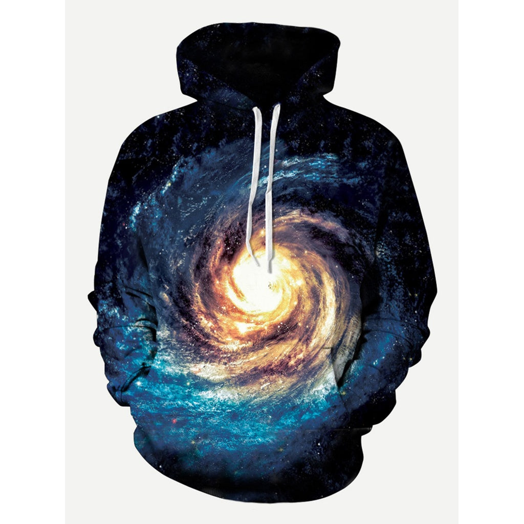 Men Abstract 3D Galaxy Style Hooded Sweatshirt