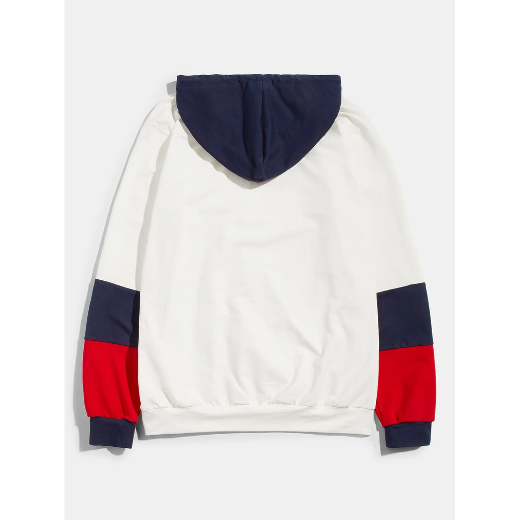 New Men Multi Color Block Hoodie