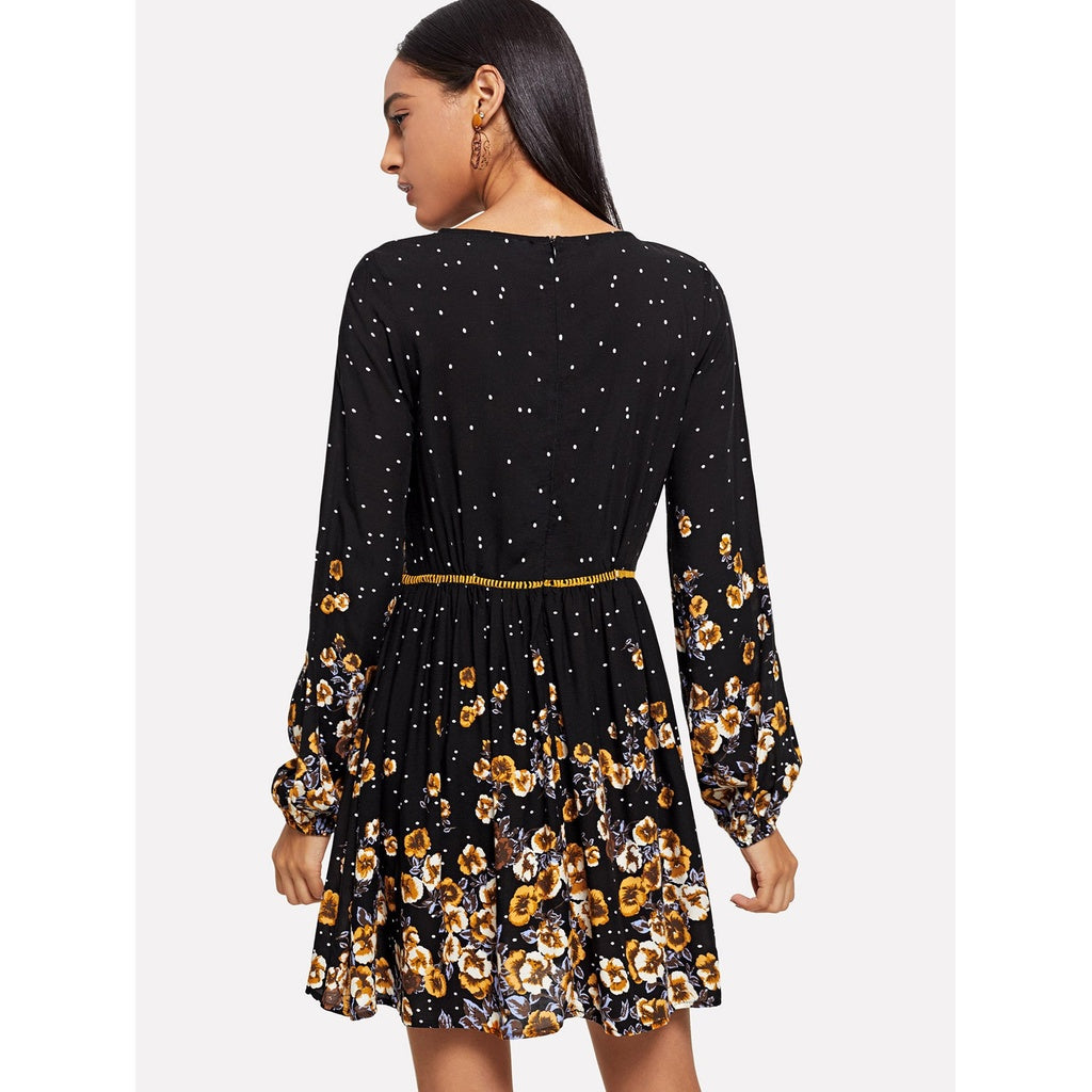 Sublime Laser Cut Floral Flare Dress