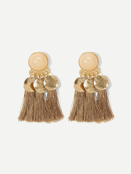 Gold Gemstone Flat Disc Drop Earrings - BrandsGuru