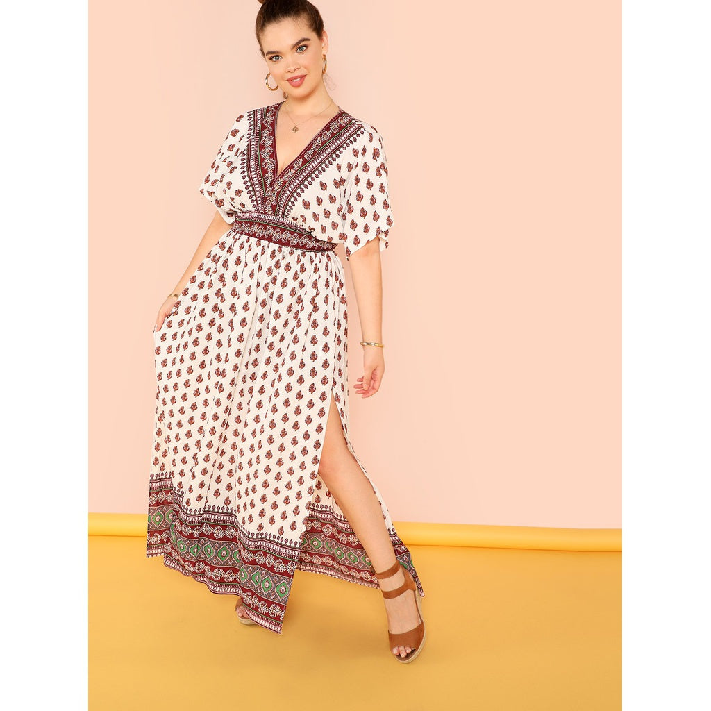 Pretty Double V Neck Tribal Print Dolman Dress