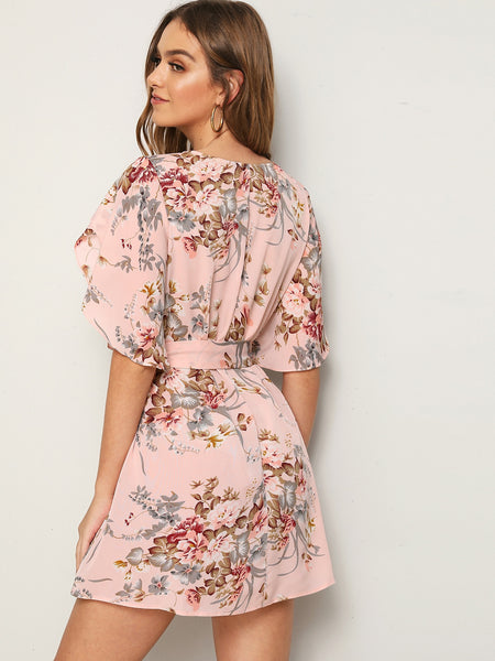 Split Sleeve Self Belted Floral Summer Dress