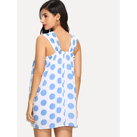 New Sizzling Frill Detail Polka Dot Flare Dress