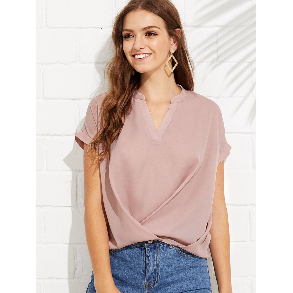 New Draped Style V Neck Plain Top