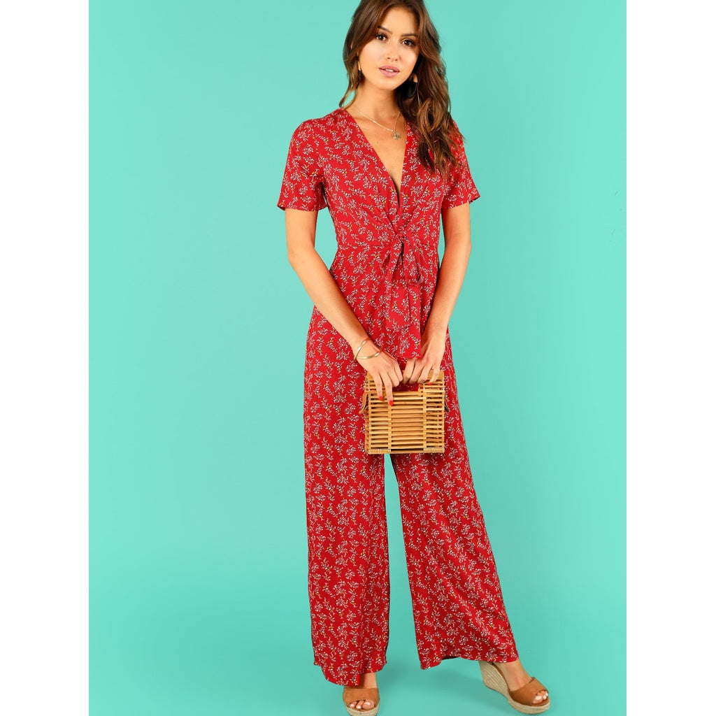 Gorgeous Calico Print Surplice Wrap Jumpsuit
