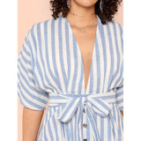 New Plunging Neck Button Up Belted Dress