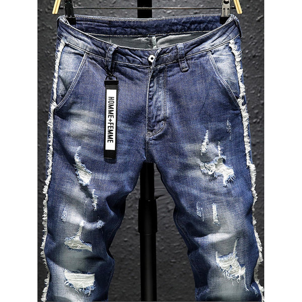 Men Wash Rolled Hem Rugged Style Jeans - BrandsGuru