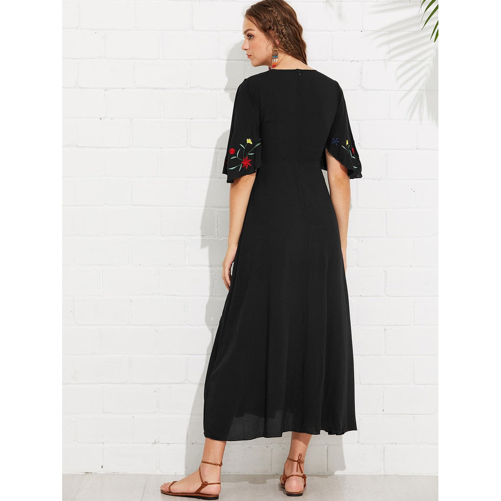 Sizzling New Flutter Sleeve Flower Embroidered Dress