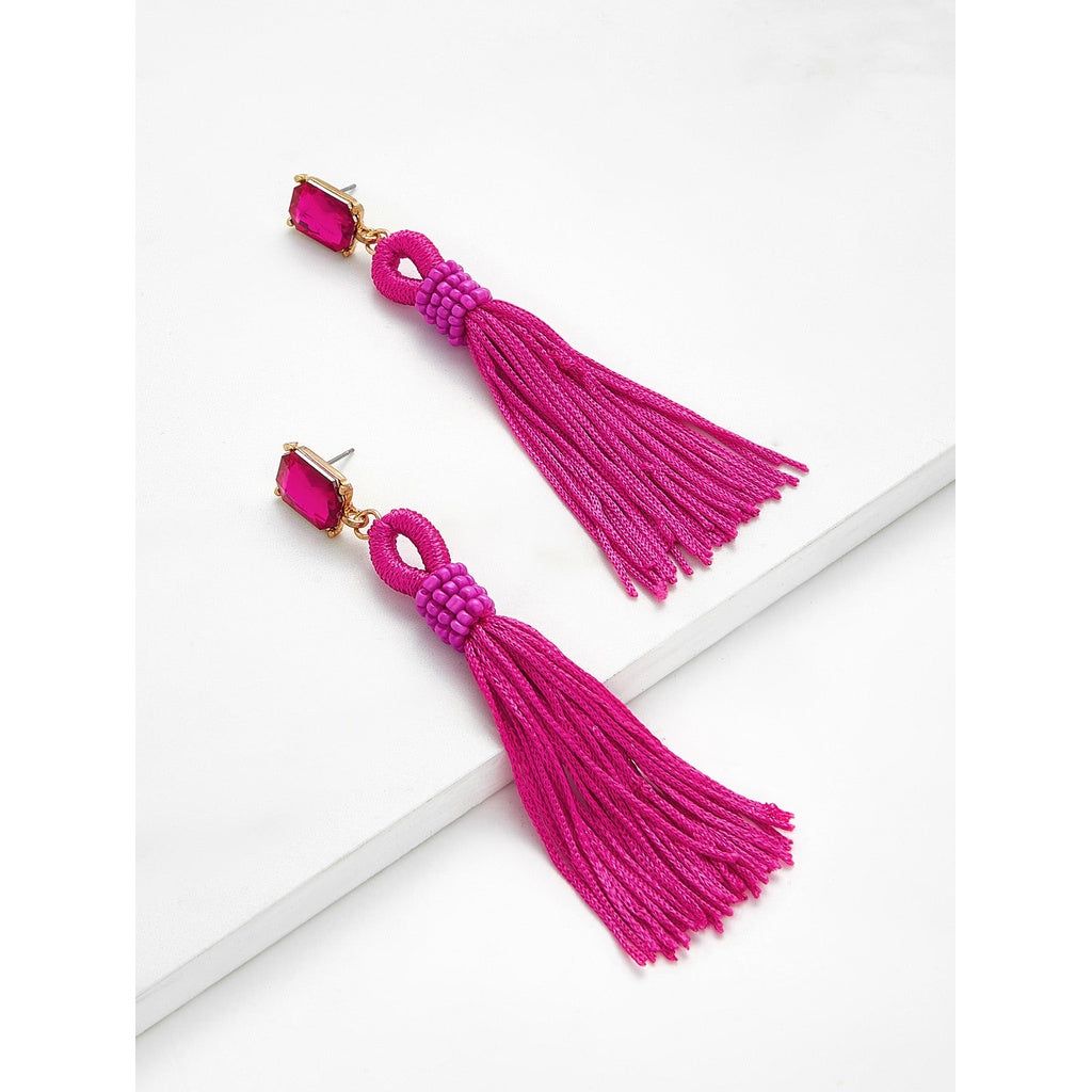 New Style Rhinestone Top Tassel Drop Earrings
