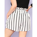 New Trendy Plus Vertical-Stripe Frill Belted Shorts