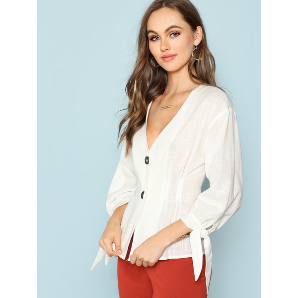 New Milan Style Knot Cuff Button Up Blouse - BrandsGuru