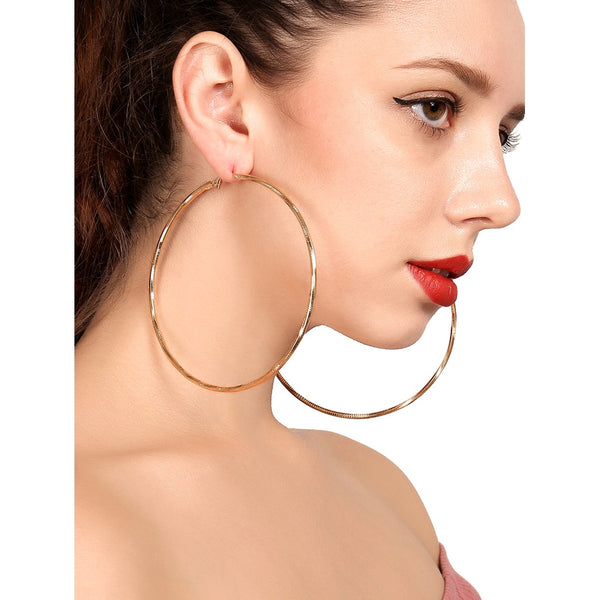 Trendy Casual Style Open Hoop Drop Earrings