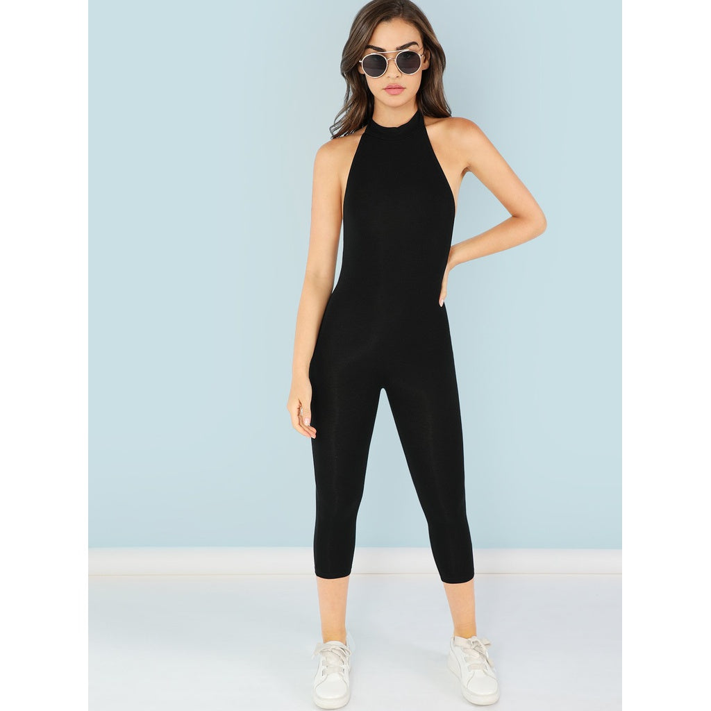 New Mock Neck Form Fitting Stylish Jumpsuit