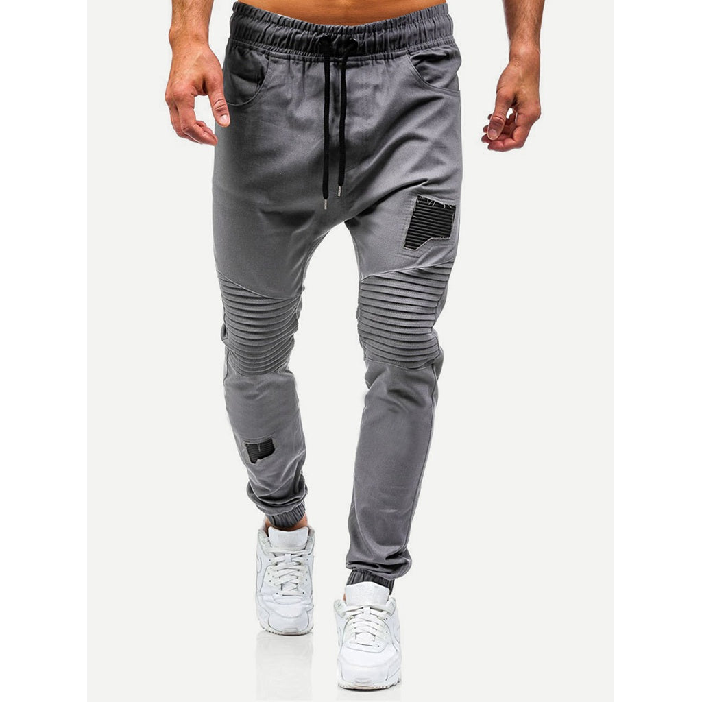 New Men Runchy Style Plain Drawstring Pants