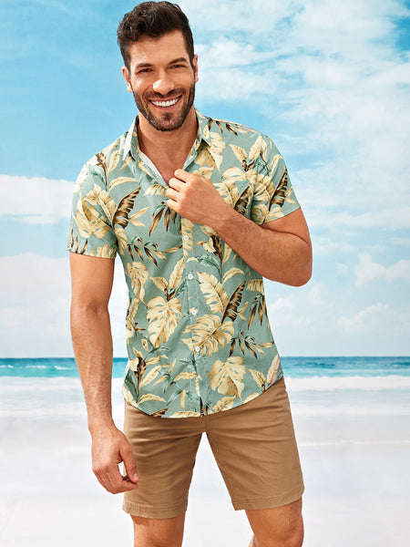 Men Tropical Style Summer Shirt
