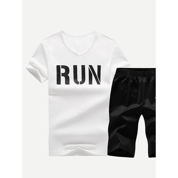 New Men Run Letter Style Tee With Shorts