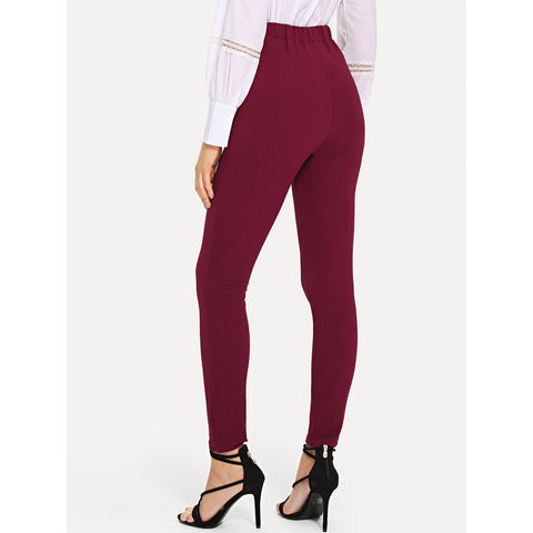 New Stunning Self Tie Solid Skinny Pants