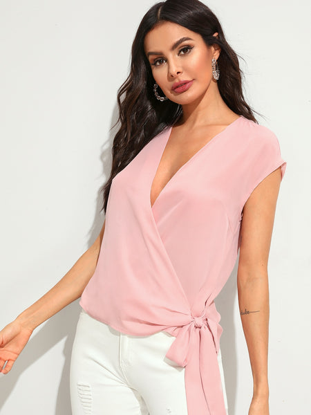 Plunging Neck Cap Sleeve Wrap Knot Top