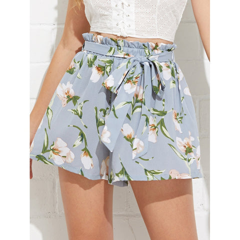 Pretty Bow Tie Waist Flower Print Shorts