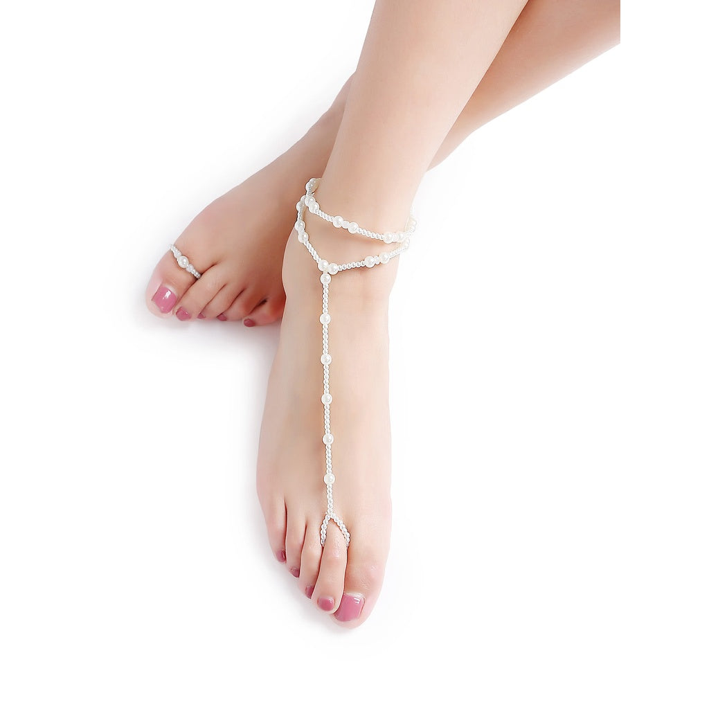 Desi Style White Beaded Foot Chain