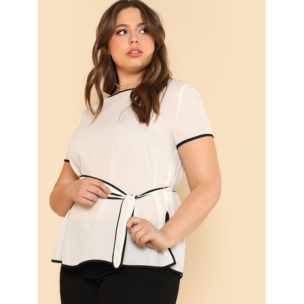 Trendy New Contrast Binding Split Side Belted Top