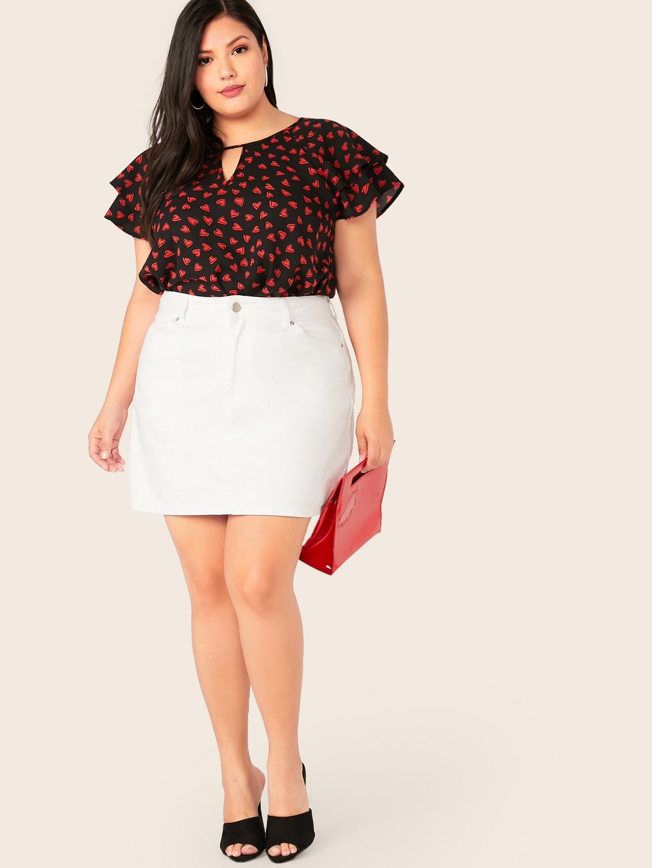 Plus Keyhole Neck Butterfly Sleeve Heart Summer Top - BrandsGuru