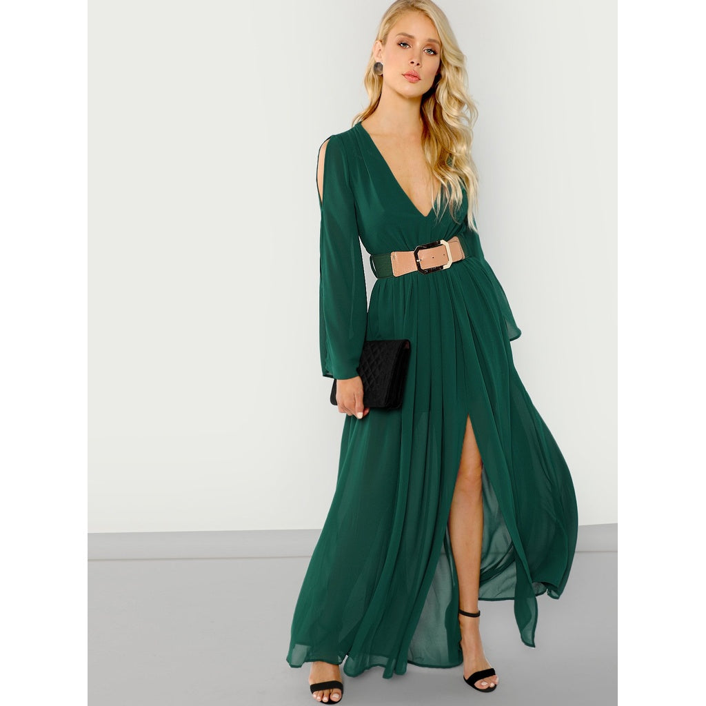 Sublime Long Sleeve Belted Maxi Dress