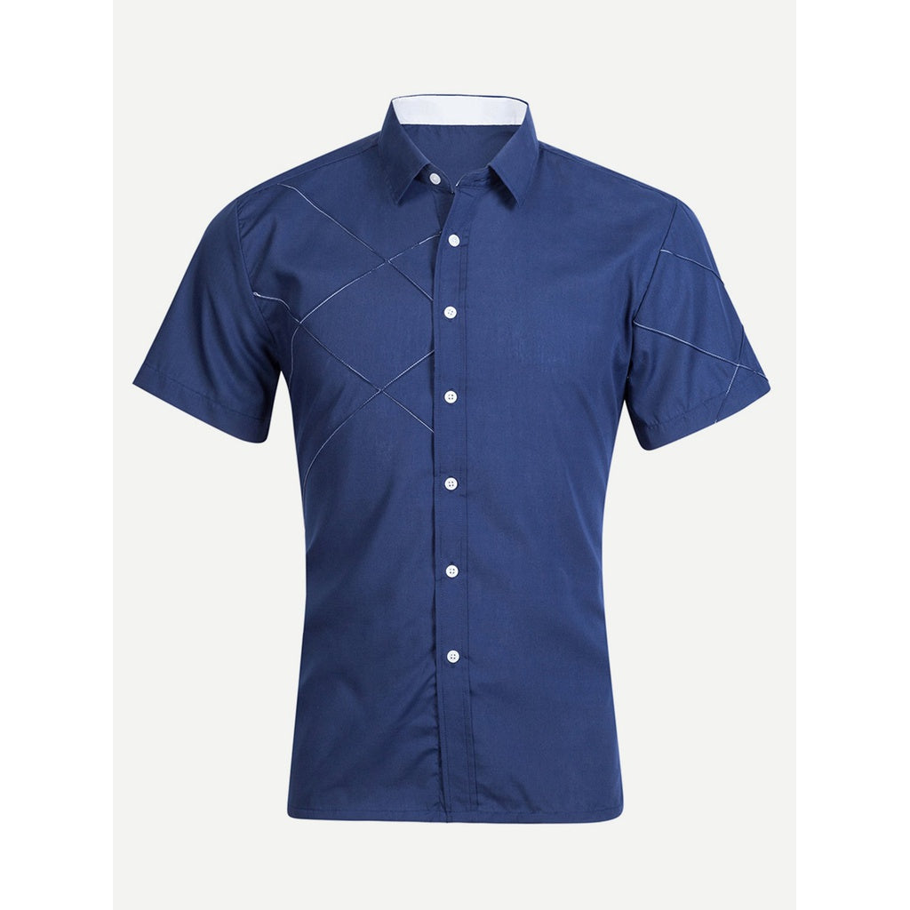 Men Seam Casual Style Solid Shirt - BrandsGuru