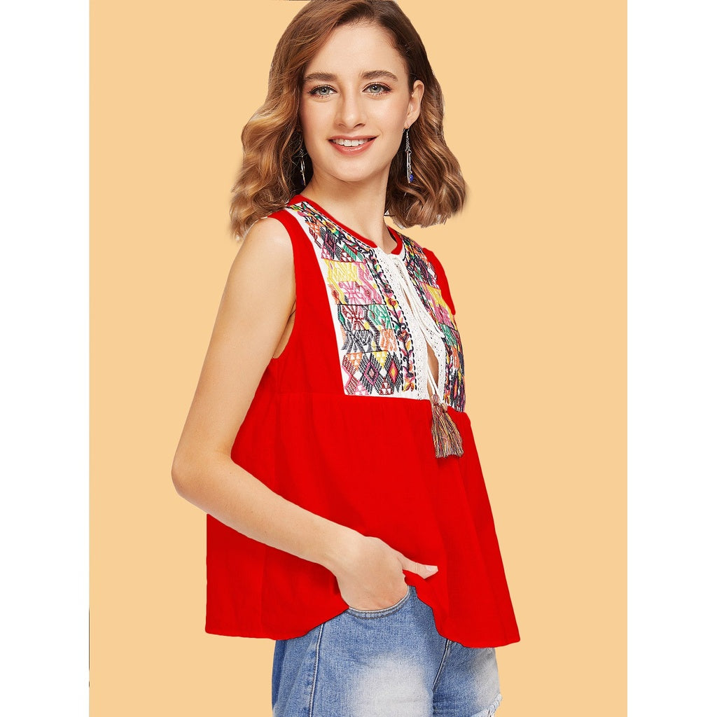 Lahori Style Tassel Tie Split Front Embroidered Sleeveless Top