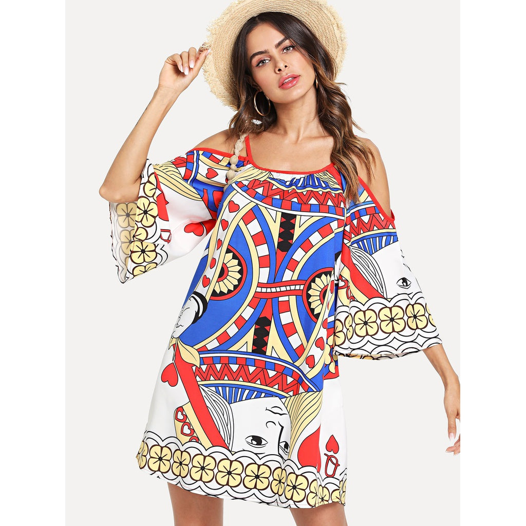 Poker Design Style Kimono Sleeve Dress