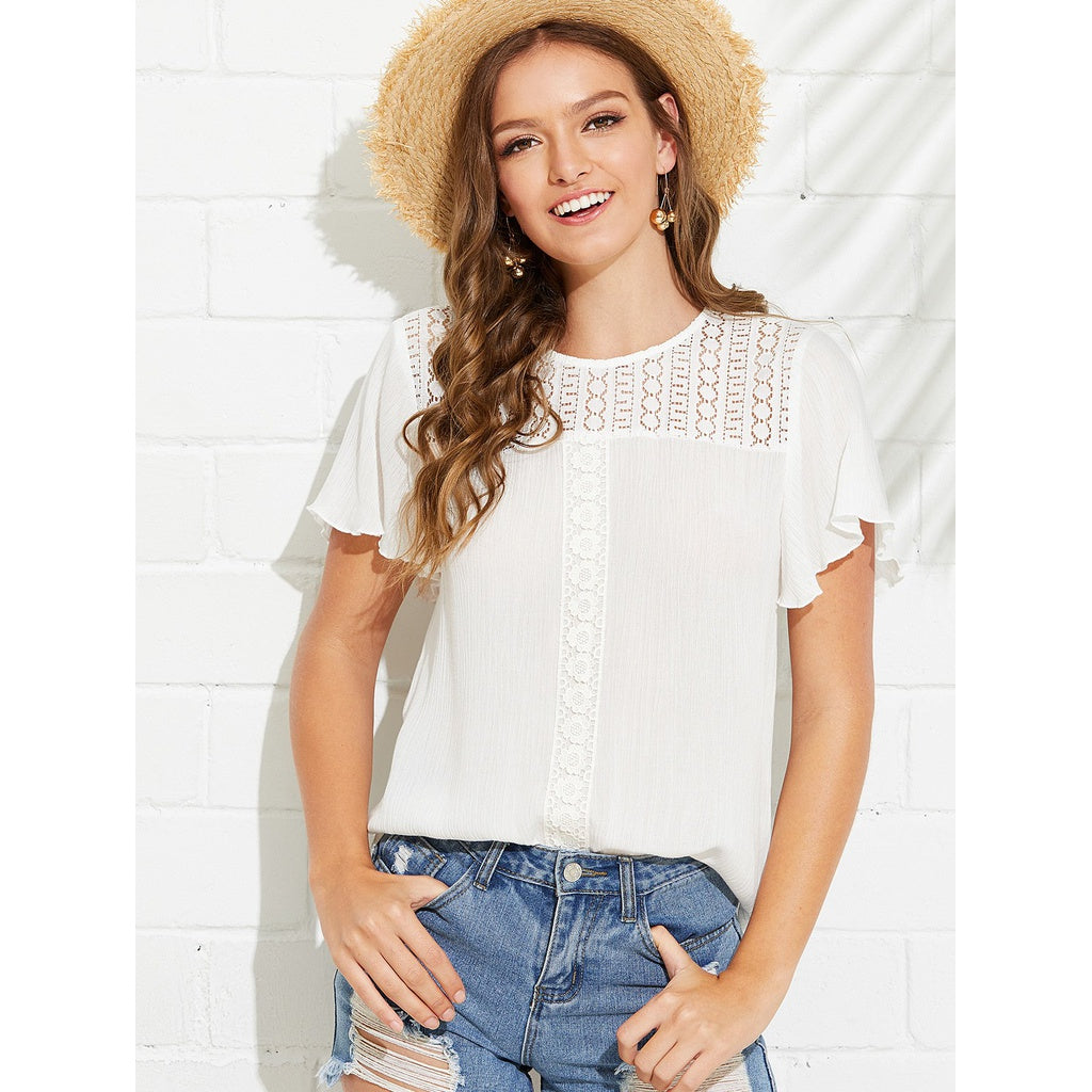 New Pretty Lace Yoke Flutter Sleeve Top