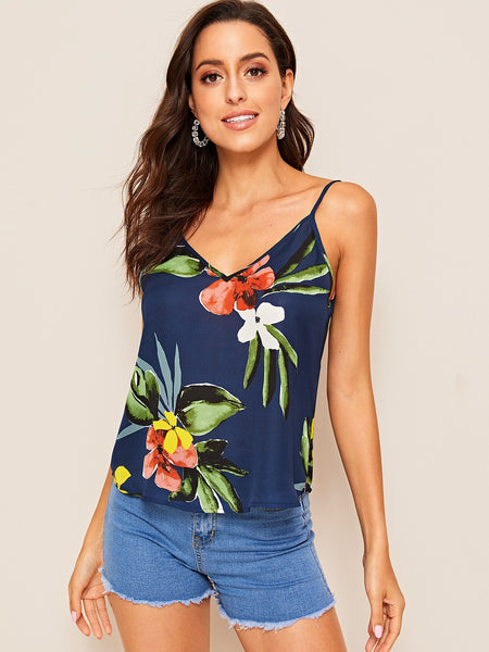 Summer Double V-neck Floral Cami Top