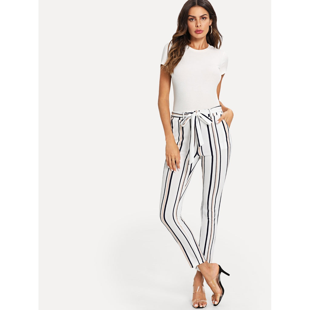 New Style Striped Skinny Pants - BrandsGuru