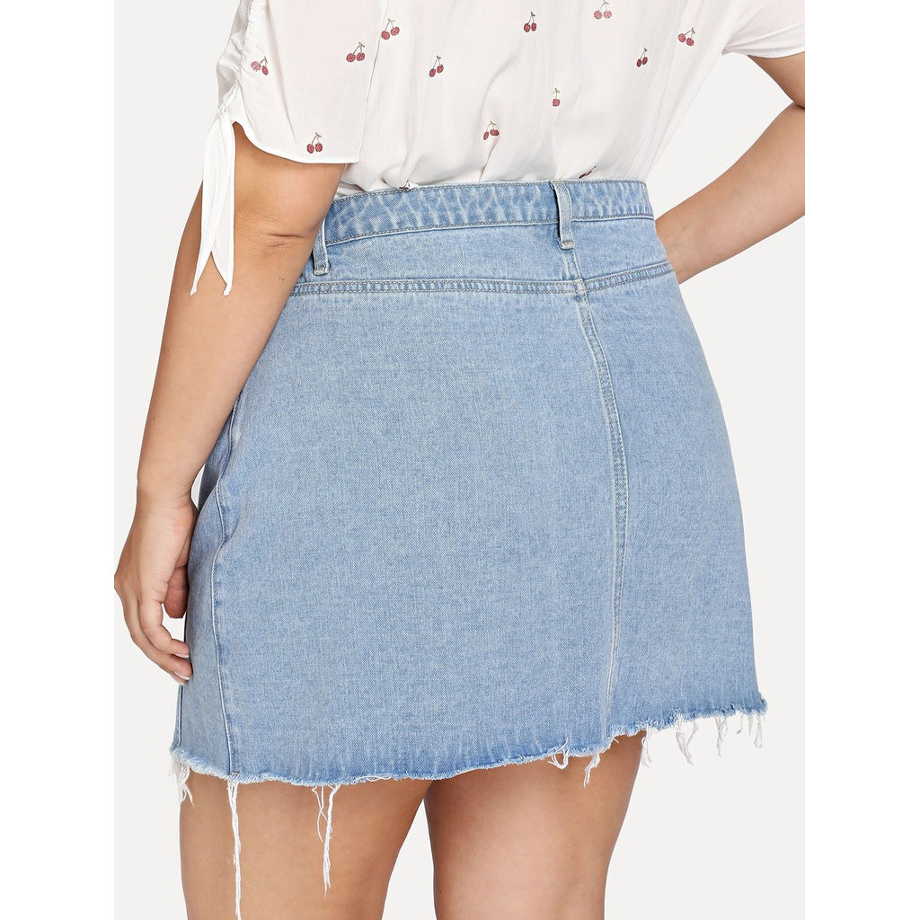 New Unique Raw Hem Button Through Denim Skirt