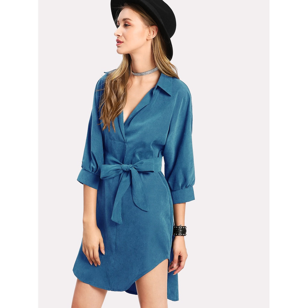 New High Low Curved Hem Shirt Dress - BrandsGuru