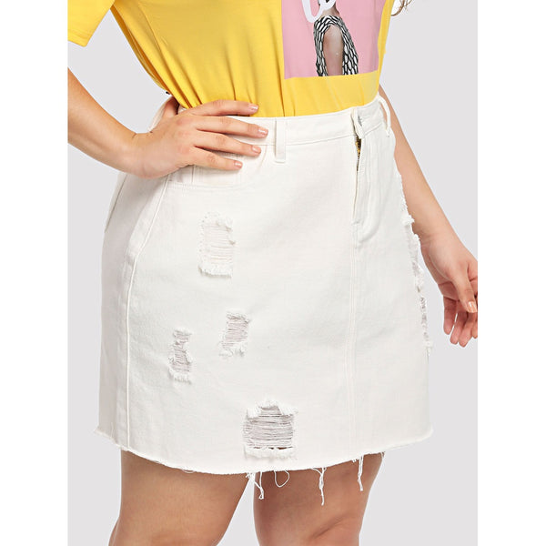 New Pretty Plus White Wash Destroyed Denim Skirt