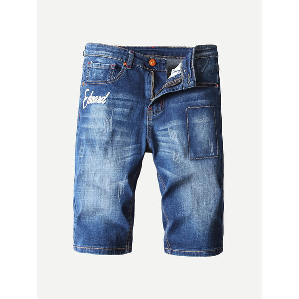 Men Embroidered Rugged Style Denim Shorts
