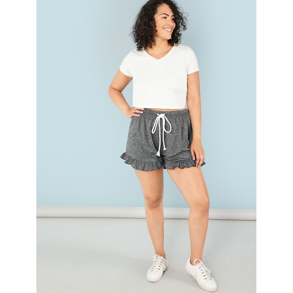 New Drawstring Waist Ruffle Hem Shorts
