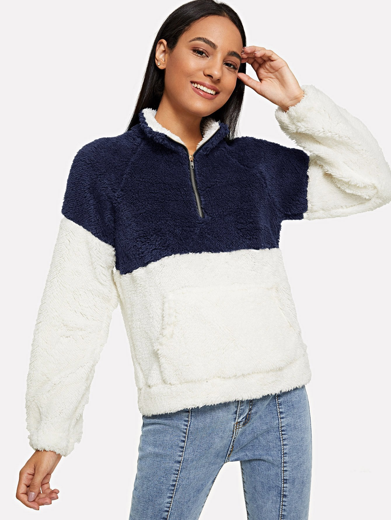 Drop Shoulder Quarter Zip Style Sweatshirt