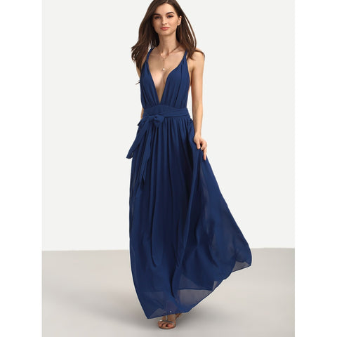 Trendy Stunningly Deep V Neck Tie Waist Full Length Dress