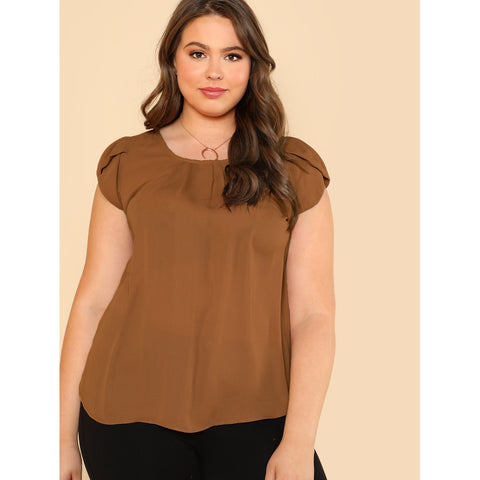 New Plus Tulip Sleeve Pleated Neck Top