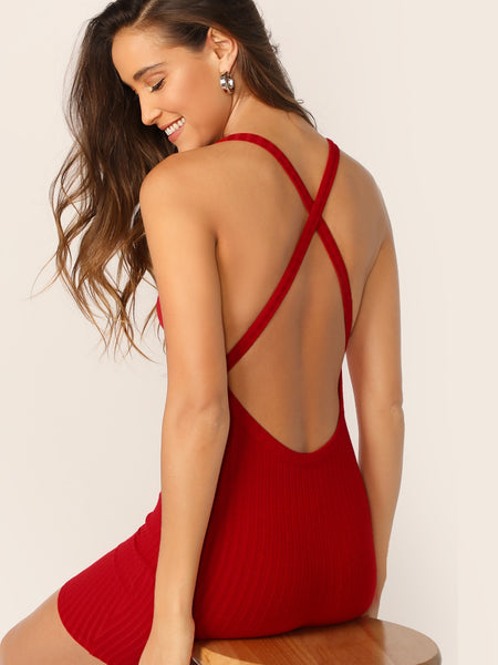 Crisscross Backless Rib-knit Bodycon Dress - BrandsGuru