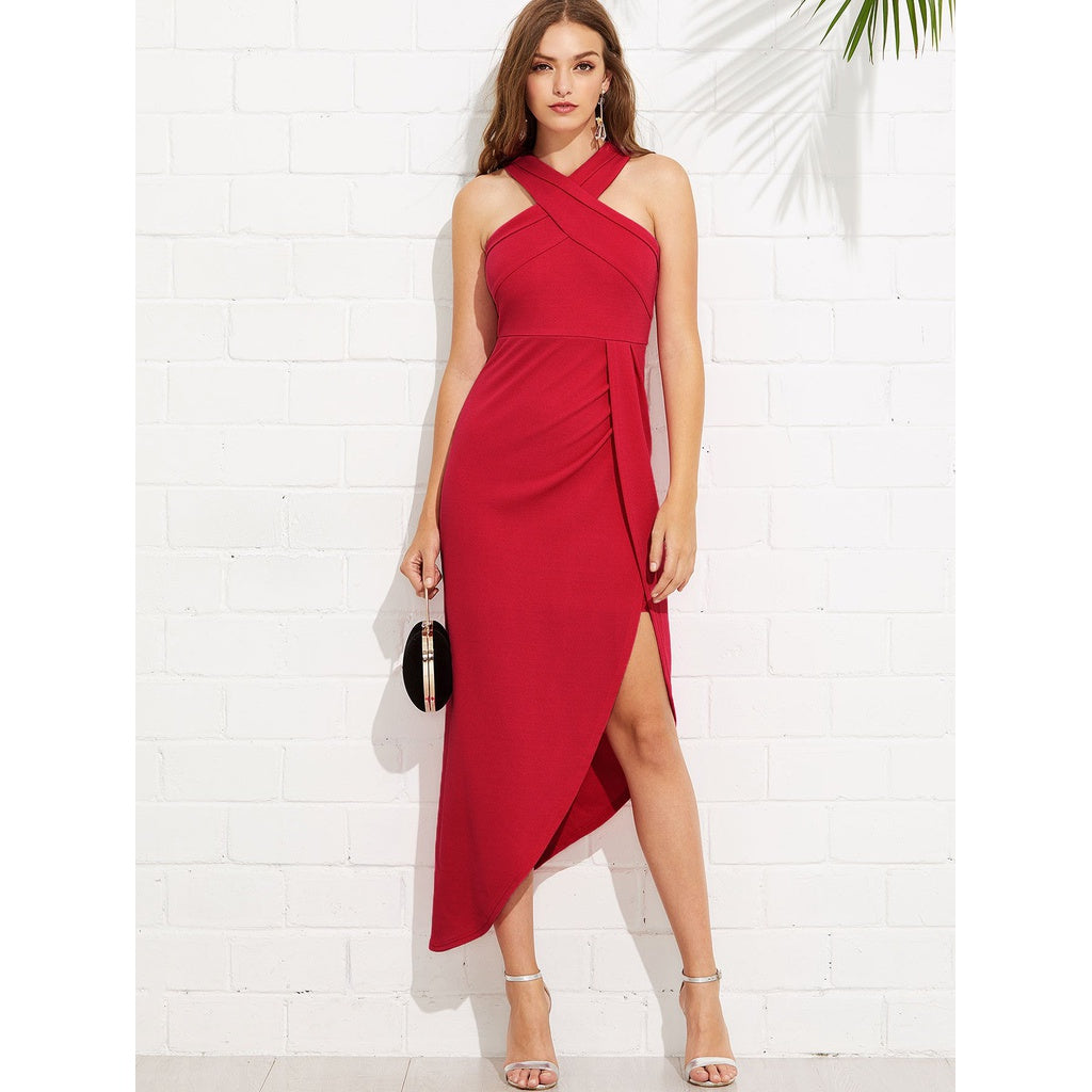 New Stylish Criss Cross Halterneck Maxi Dress - BrandsGuru