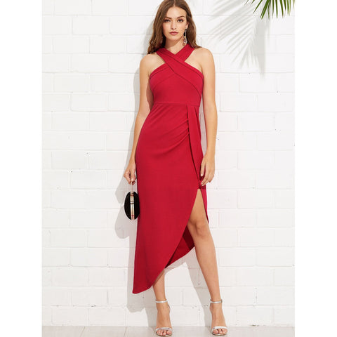 New Stylish Criss Cross Halterneck Maxi Dress