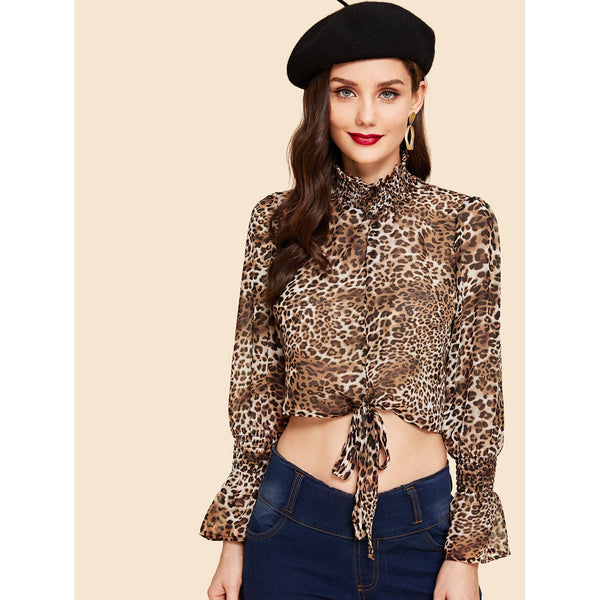 New Sizzling Leopard Style Stand Collar Blouse