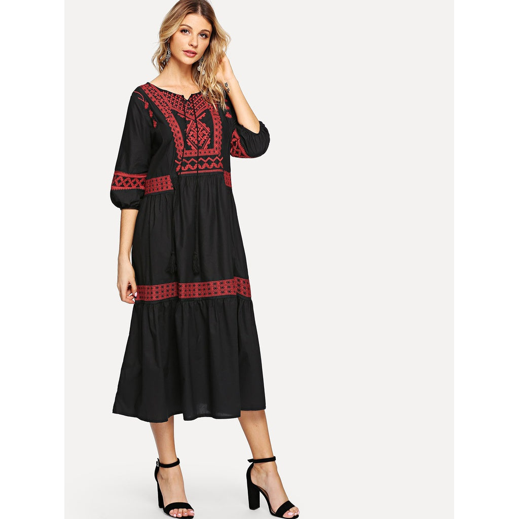 New Tassel Desi Style Embroidered Dress