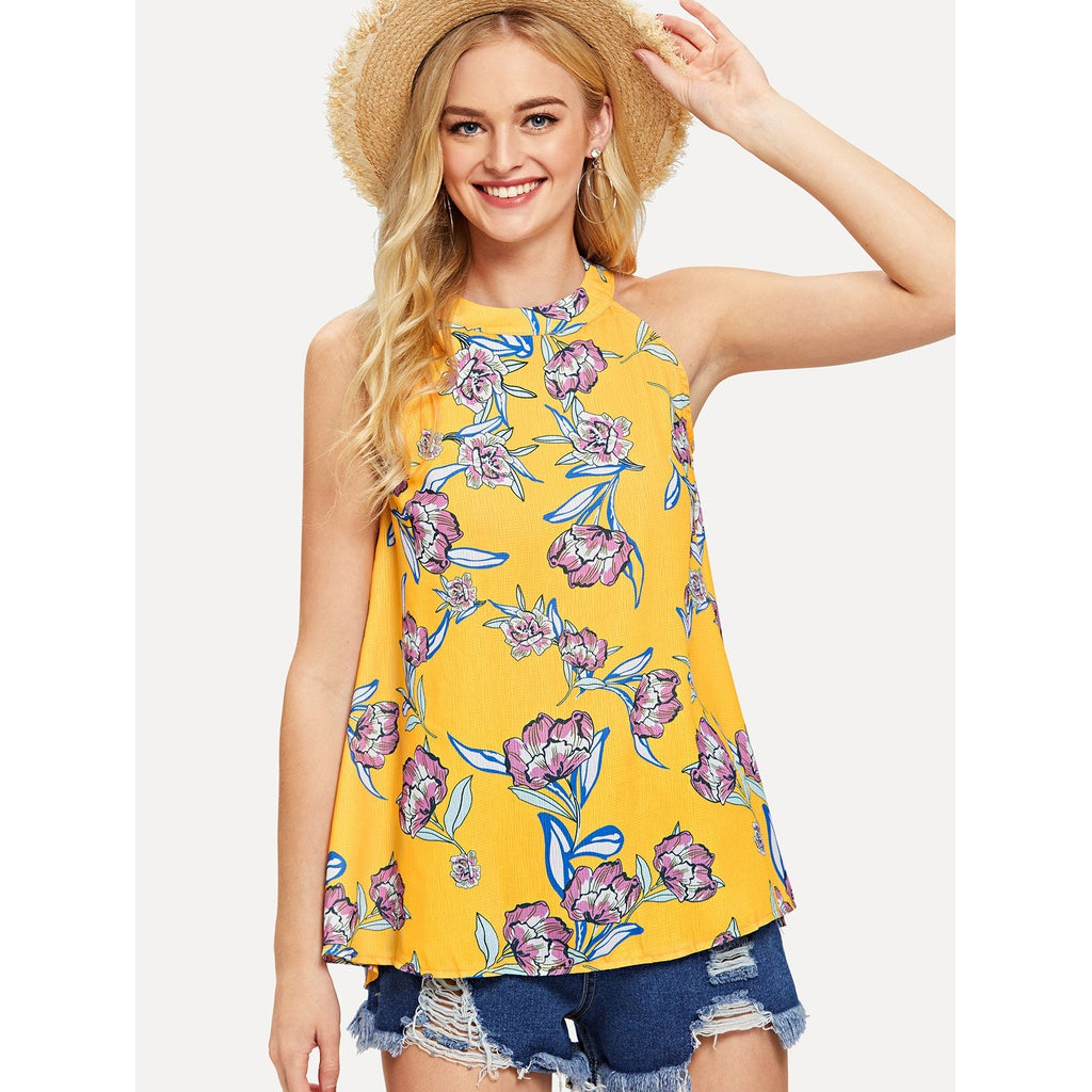 New Style Floral Print Top