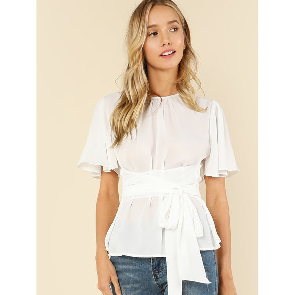 New Trendy Butterfly Sleeve Belted Top