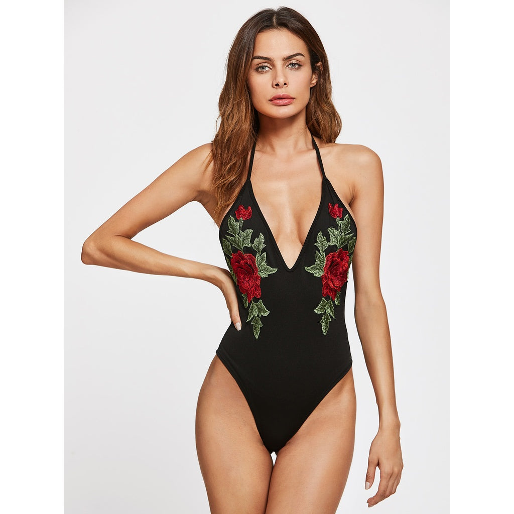 New Plunging Backless Bodysuit With Embroidered Applique