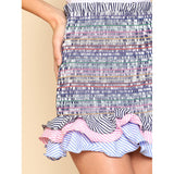 New  Exotic Striped Tiered Ruffle Hem Smock Skirt